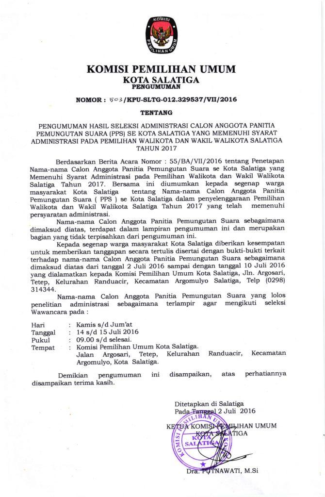 Pengumuman Hasil Seleksi Administrasi Calon Anggota PPS