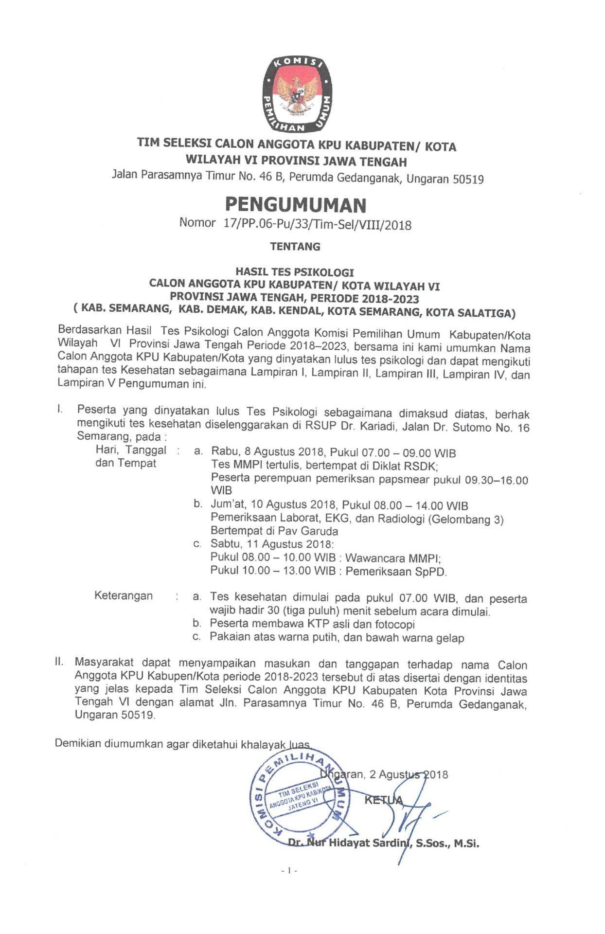 Kami Sampaikan Pengumuman Hasil Test Psikologi Calon Anggota Kpu Kabkota Jawa Tengah Vi Kab Semarang Kab Demak Kab